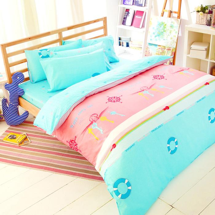 特賣-【FOCA-快樂饗宴】加大精梳純棉兩用被床包組(雙人羽絲絨被x1)