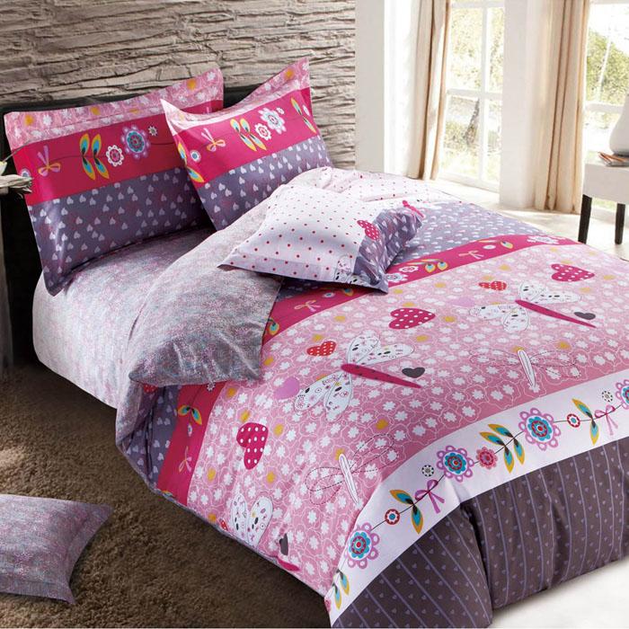 特賣-【FOCA-花開曲調】特大精梳純棉四件式兩用被床包組(贈同尺寸保潔墊X1)