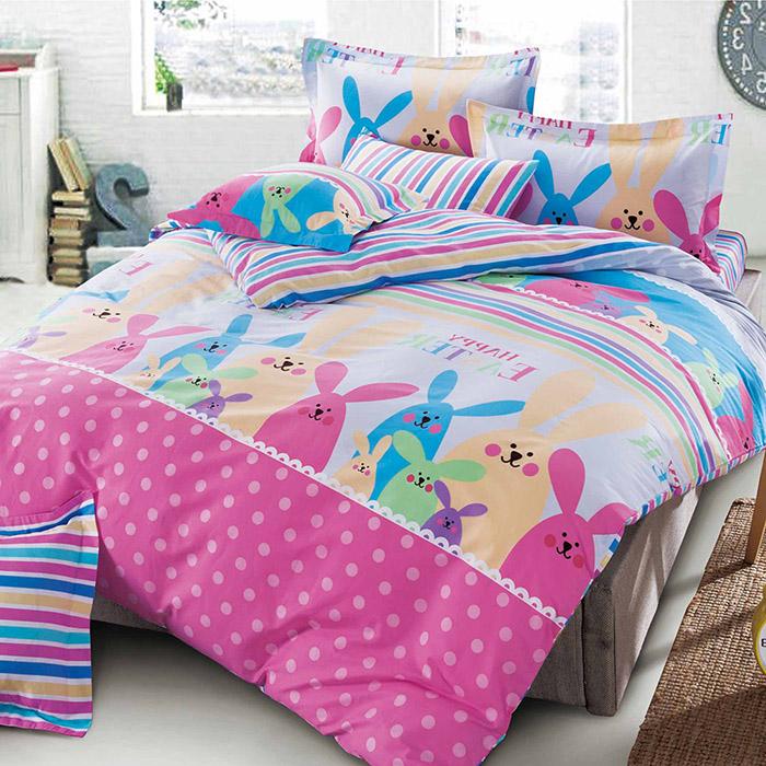 特賣-【FOCA-調皮兔兔】加大精梳純棉四件式兩用被床包組(贈雙人羽絲絨被x1)