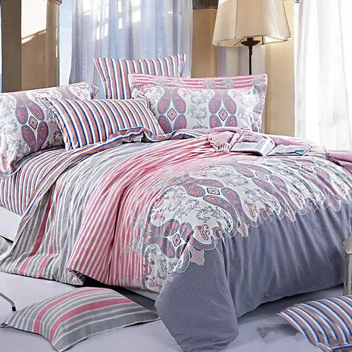 特賣-【FOCA-波光粼粼】加大精梳純棉四件式兩用被床包組(贈同尺寸保潔墊X1)