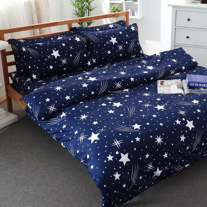 特賣-【FOCA】加大-活性印染雪絨棉四件式被套床包組(閃耀)