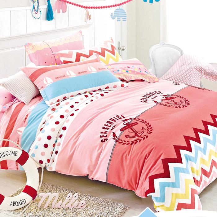 特賣-【FOCA-綻漾青春】加大精梳純棉兩用被床包組(贈同尺寸保潔墊)