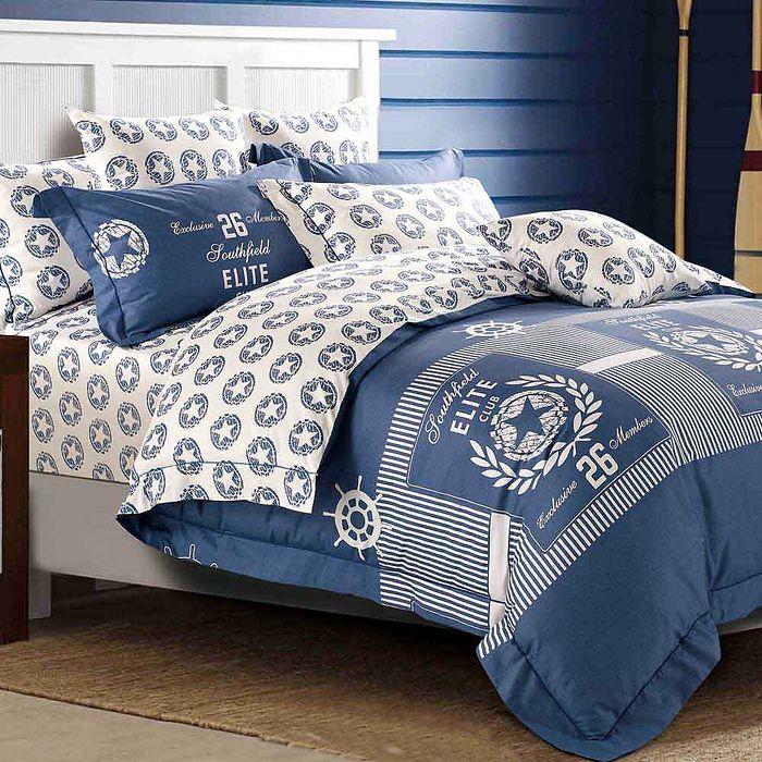 雙人-【Betrise】斯瑞塔-環保印染德國防?抗菌100%精梳棉四件式兩用被床包組-APP