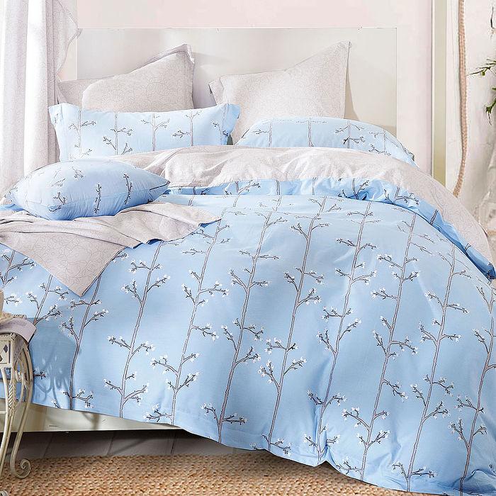 加大-【Betrise】香佩-藍-環保印染德國防?抗菌100%精梳棉四件式兩用被床包組-APP