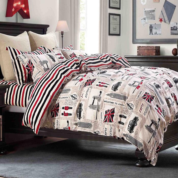 特賣-【FOCA-印象倫敦】單人精梳純棉兩用被床包組(贈同尺寸保潔墊)