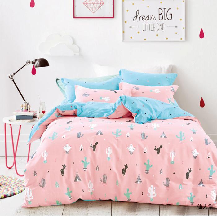 特賣-【FOCA-甜蜜仙人掌】雙人-100%精梳純棉兩用被床包組(贈同尺寸保潔墊)