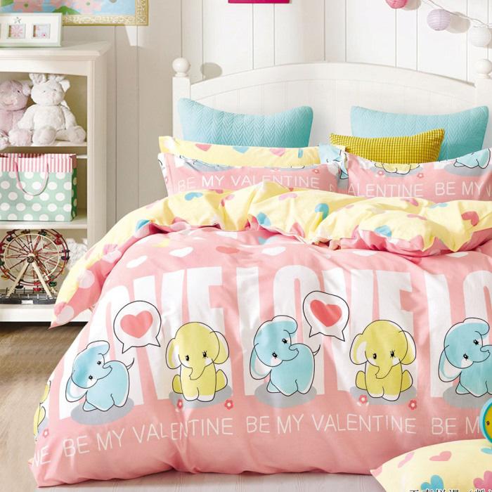 特賣-【FOCA-童趣小象】單人-100%精梳純棉兩用被床包組(贈同尺寸保潔墊)