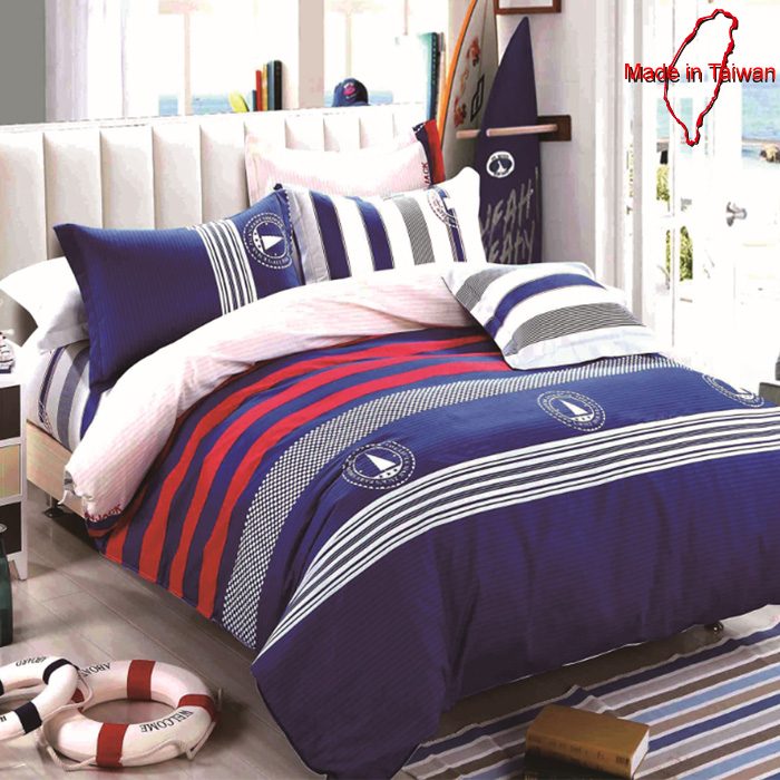 【FOCA 航海日記 】MIT製造-頂級活性印染蜜桃絨棉-單人薄床包枕套二件組-APP