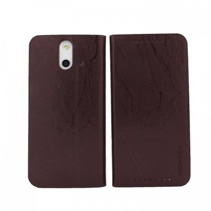 HOMOSA HTC One E8 閃電皮紋皮套-閃電黑咖啡