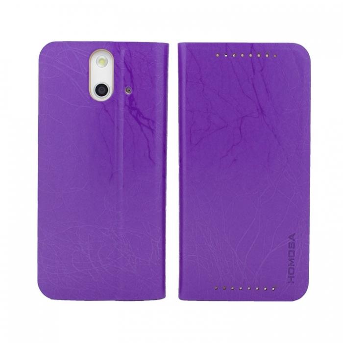 HOMOSA HTC One E8 閃電皮紋皮套-閃電紫
