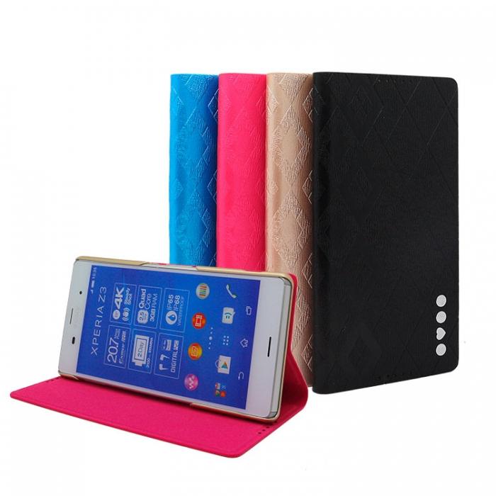 HOMOSA SONY Xperia Z3 可站立 珠光皮紋皮套 (四色可選)珠光藍