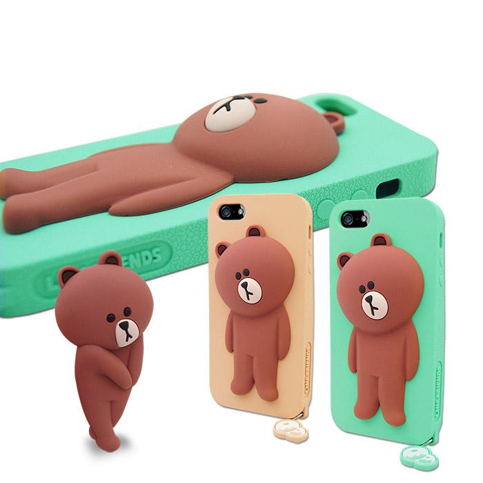 LINE原廠- APPLE iPhone 5/5S 專用BROWN 熊大 矽膠保護殼