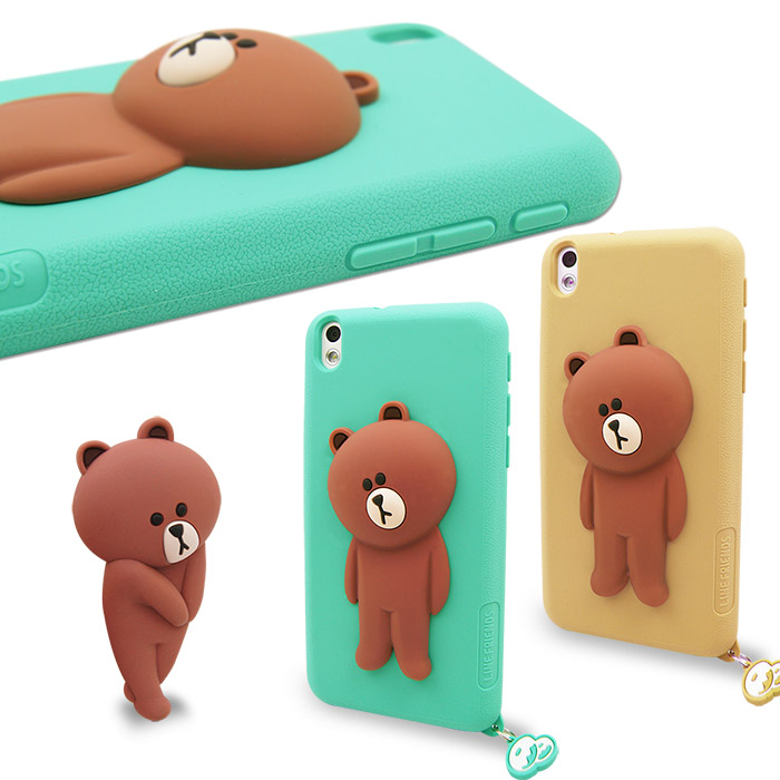LINE原廠- HTC Desire 816 專用BROWN 熊大 矽膠保護殼
