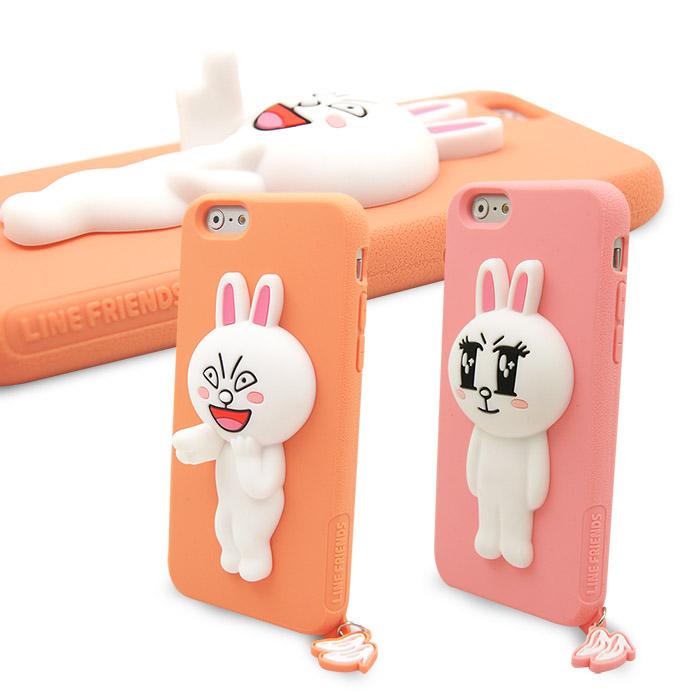 LINE原廠- APPLE iPhone 6s/6 Plus 專用CONY 兔兔矽膠保護殼粉