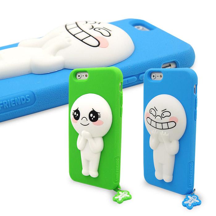 LINE原廠- APPLE iPhone 6s/6 Plus 專用 Moon饅頭人矽膠保護殼綠