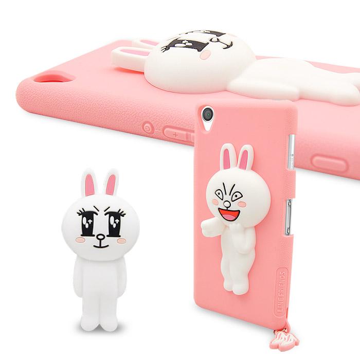 LINE原廠- Sony Xperia Z3 專用CONY 兔兔矽膠保護殼-粉