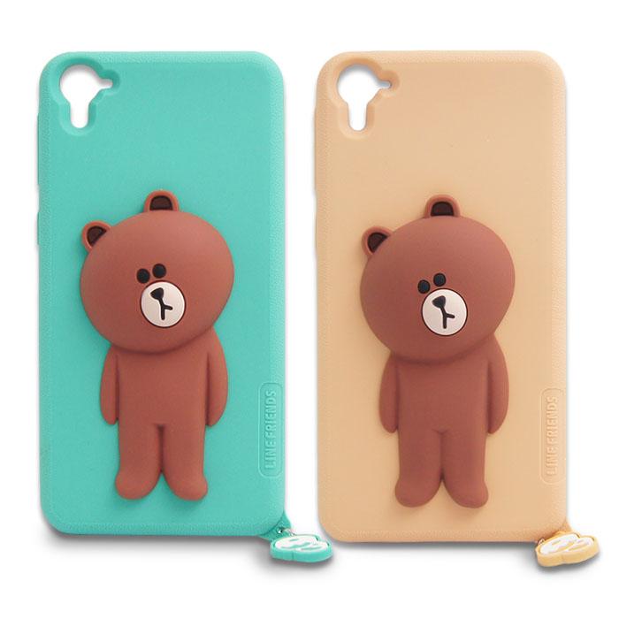 LINE原廠 - HTC Desire 826 專用 BROWN歪頭熊大矽膠保護殼綠