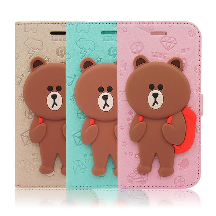 LINE原廠 - APPLE iPhone 6s/6 Plus 5.5吋 背包熊大磁吸公仔立架側掀皮套