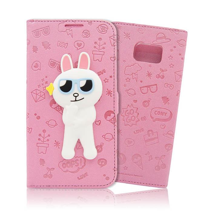 LINE原廠-Samsung Galaxy Note5 兔兔磁吸公仔立架側掀皮套
