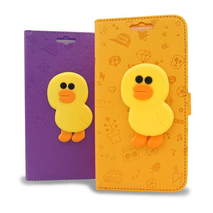 LINE原廠-ASUS ZenFone Selfie ZD551KL 莎莉磁吸公仔立架側掀皮套紫