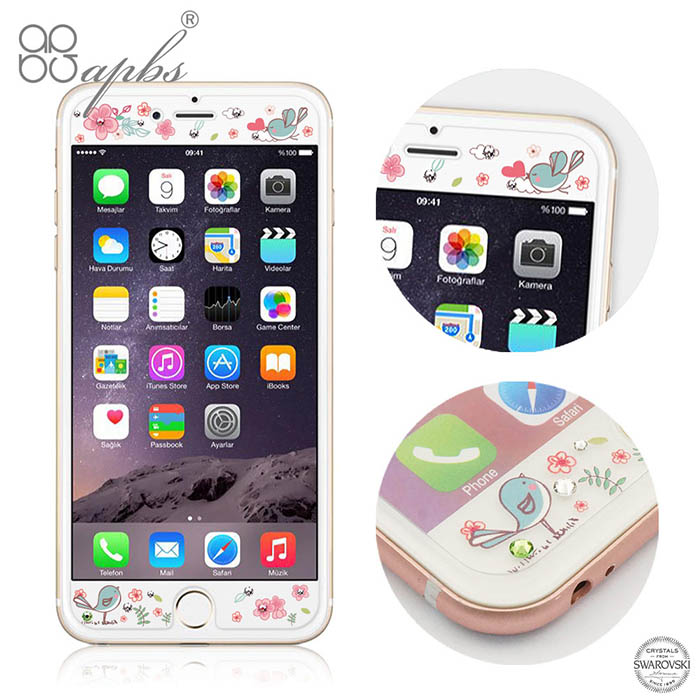 apbs APPLE iPhone 6s/6 & 6s Plus/6 Plus 施華洛世奇彩鑽玻璃保護貼-相愛-手機平板配件-myfone購物