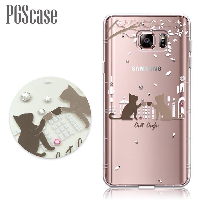 PGS Samsung Galaxy Note 5 奧地利彩鑽防摔手機殼-午茶貓咪