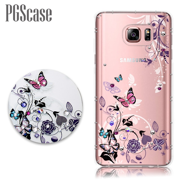 PGS Samsung Galaxy Note 5 奧地利彩鑽防摔手機殼-蝶舞