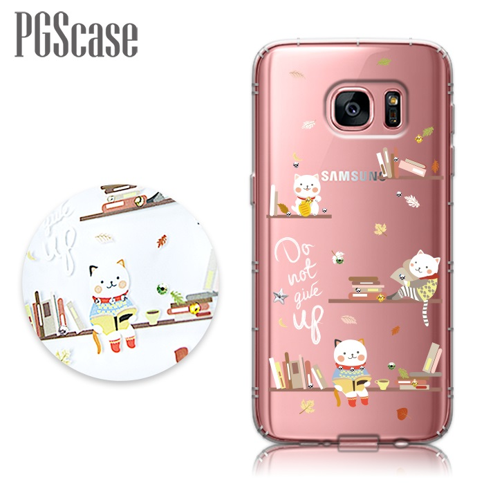 PGS Samsung Galaxy S7 edge奧地利彩鑽防摔手機殼-貓咪書房