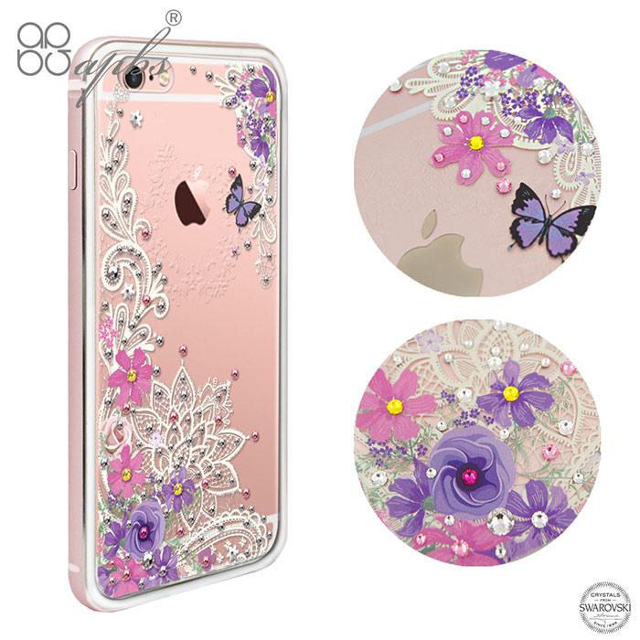 apbs iPhone6s/6 & 6s Plus/6 Plus 施華彩鑽鋁合金屬框手機殼-玫瑰金蕾絲花