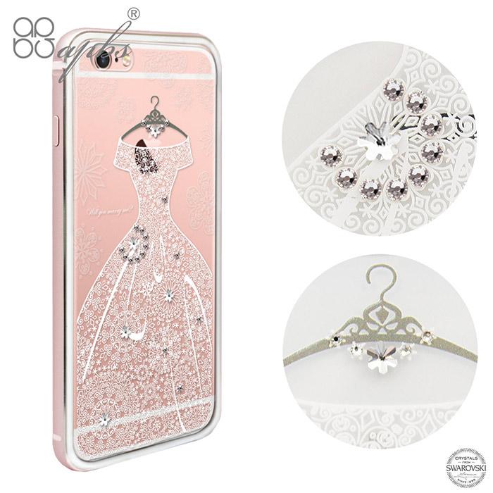 apbs iPhone6s/6 & 6s Plus/6 Plus 施華彩鑽鋁合金屬框手機殼-玫瑰金禮服
