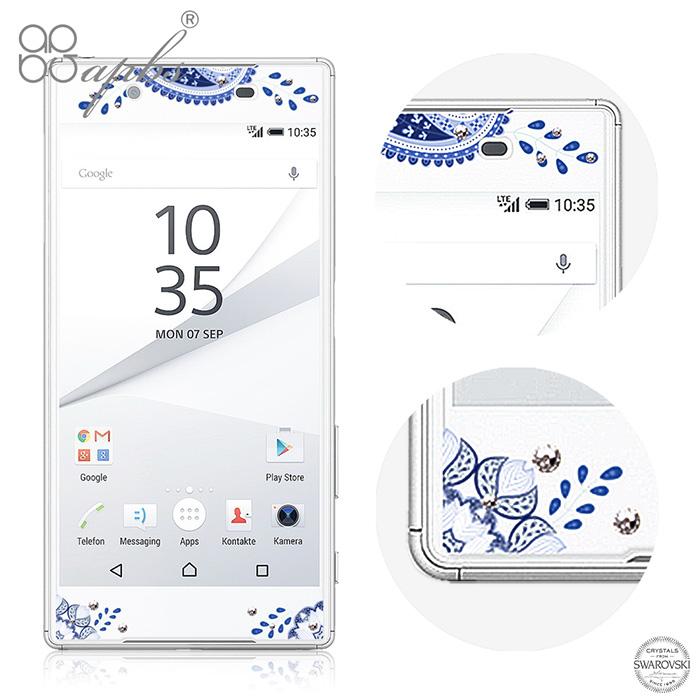 apbs Sony Xperia Z5 施華洛世奇彩鑽玻璃保護貼-青花瓷