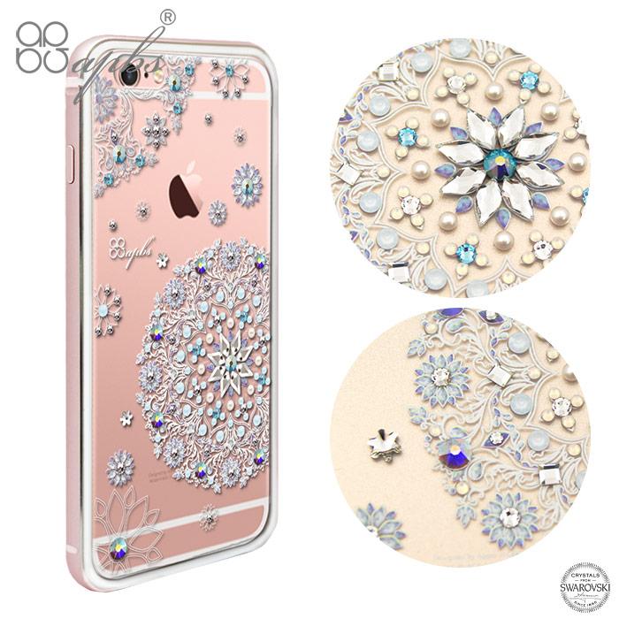 apbs iPhone6s Plus/iPhone6 Plus 5.5吋施華彩鑽鋁合金屬框手機殼-玫瑰金天使心