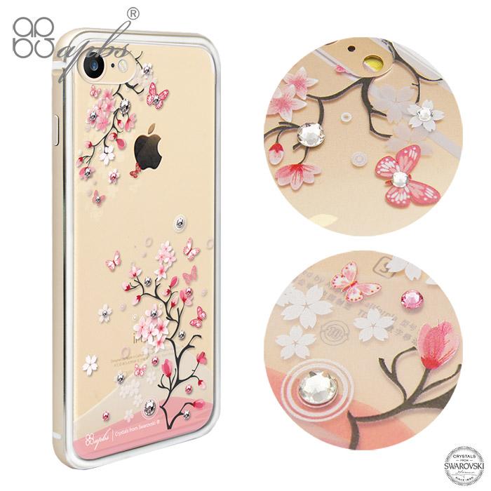 apbs iPhone8/7 & 8/7 Plus 施華彩鑽鋁合金屬框手機殼-金色日本櫻