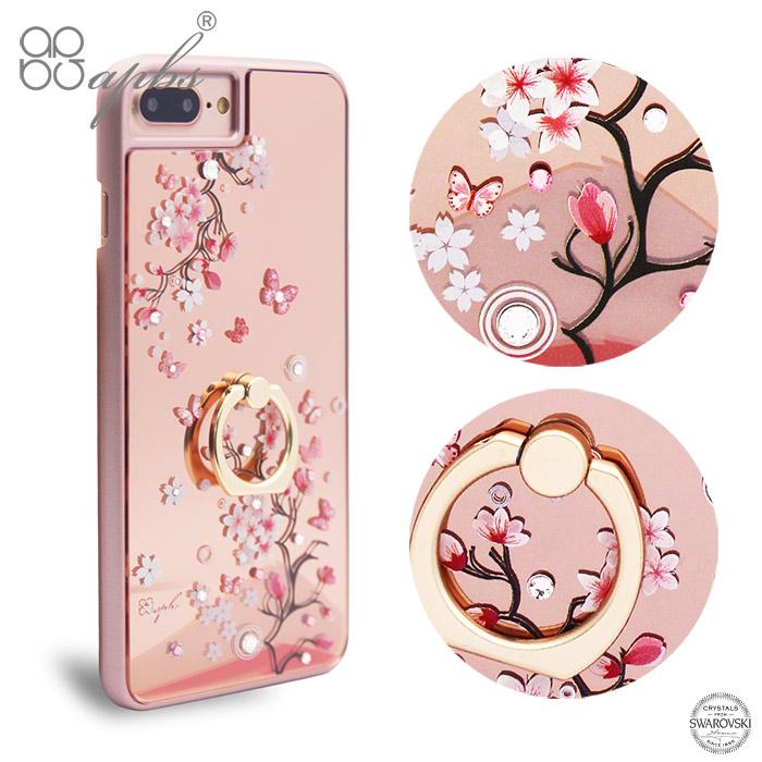 apbs iPhone8 / 7 / 6s / 6 Plus 5.5吋施華彩鑽鏡面指環扣手機殼-日本櫻