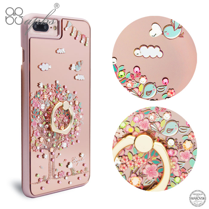 apbs iPhone8 Plus / 7 Plus / 6s Plus / 6 Plus 5.5吋施華彩鑽鏡面指環扣手機殼-相愛