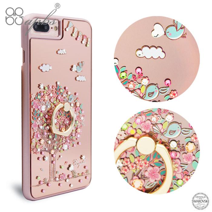 apbs iPhone8 / 7 / 6s / 6 4.7吋施華彩鑽鏡面指環扣手機殼-相愛