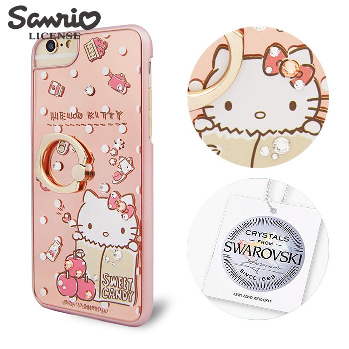 三麗鷗 Kitty iPhone8/7/6s/6 4.7吋施華彩鑽鏡面指環扣手機殼-蘋果凱蒂