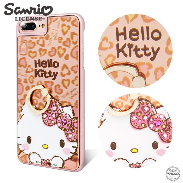 三麗鷗 Kitty iPhone8/7/6s/6 Plus 5.5吋施華彩鑽鏡面指環扣手機殼-豹紋凱蒂