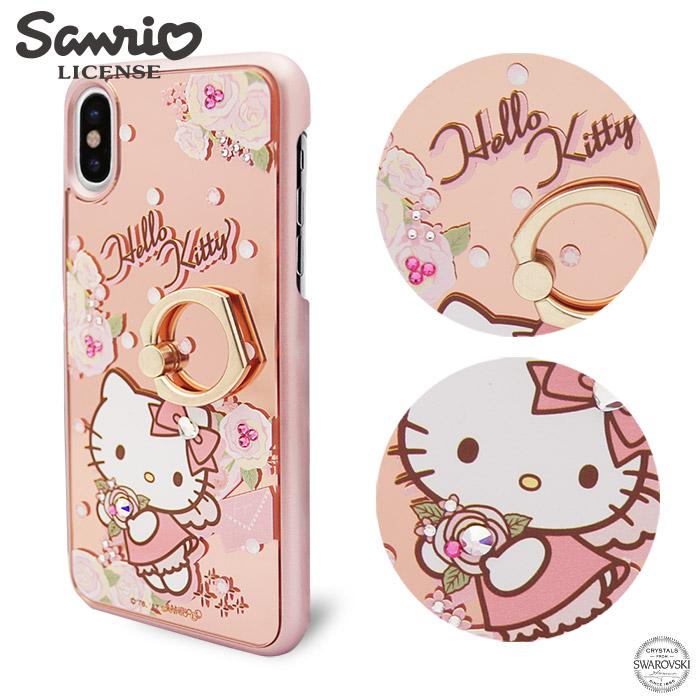 三麗鷗 Kitty iPhone Xs / iPhone X 5.8吋施華彩鑽鏡面指環扣手機殼-天使凱蒂