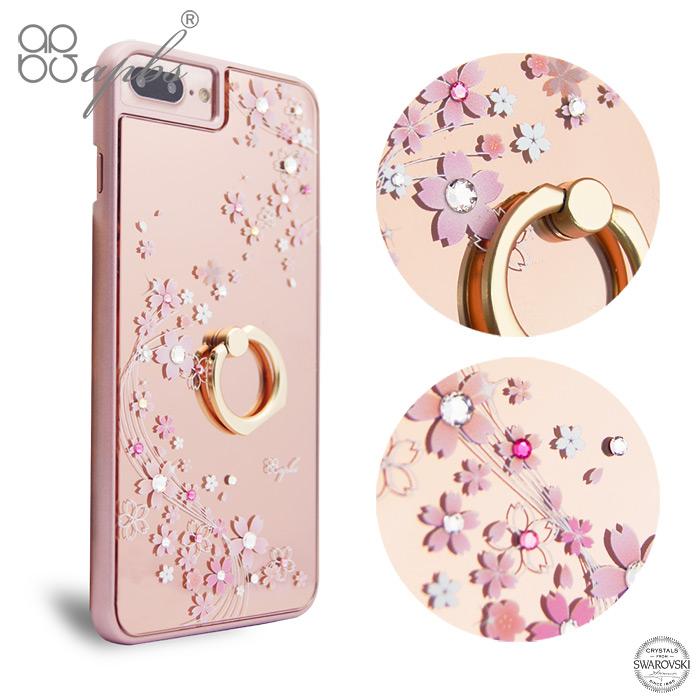 apbs iPhone8 Plus/7 Plus/6s Plus/6 Plus 5.5吋施華彩鑽鏡面指環扣手機殼-天籟之櫻