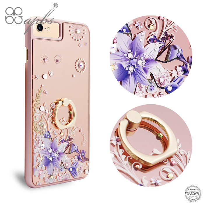 apbs iPhone8/7/6s/6 4.7吋施華彩鑽鏡面指環扣手機殼-祕密花園