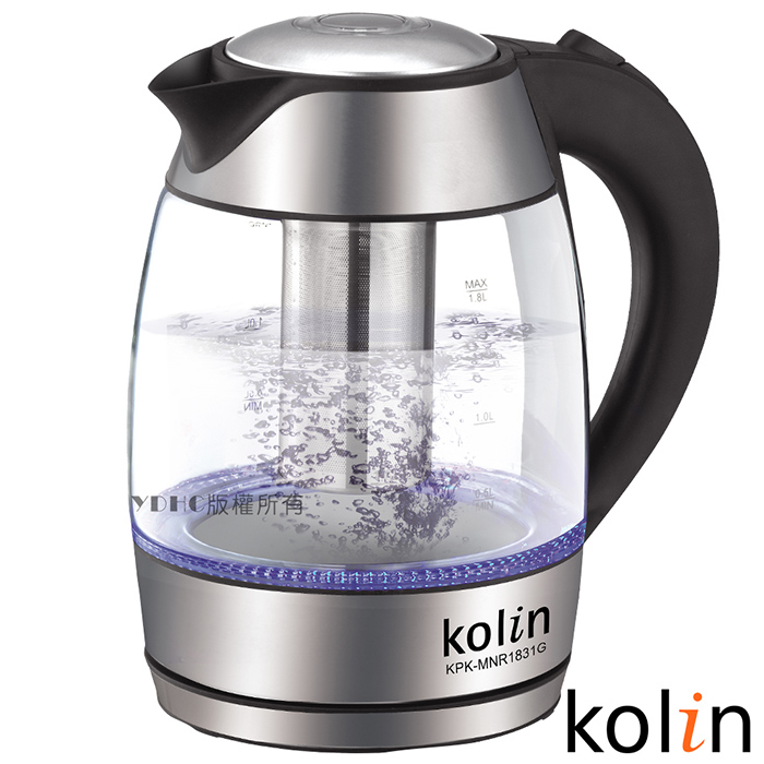 歌林Kolin 1.8L泡茶玻璃快煮壺KPK-MNR1831G