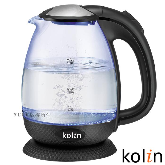 歌林Kolin 1.8L菱格紋LED炫彩玻璃快煮壺KPK-MNR1836G