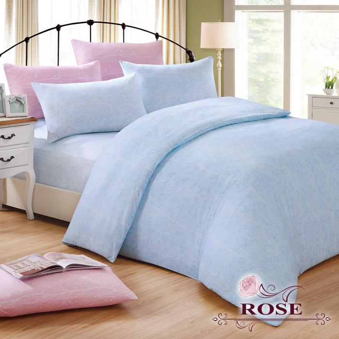 【ROSE】珍珠光朵拉物語加大床包枕套3件組-藍色