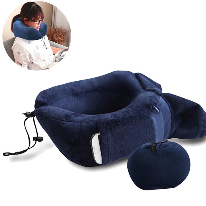 暢銷歐美 旅用記憶頸枕 U型枕 趴睡枕 午睡枕 寶藍色 x1入