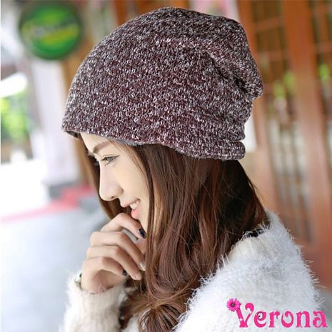 【Verona】時尚加厚加絨戶外運動保暖針織堆堆帽咖啡色