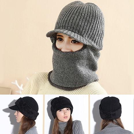 【Verona】男女加絨加厚護頸三合一騎車保暖帽咖啡