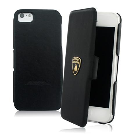 義大利Lamborghini藍寶堅尼授權 TROFEO iPhone 5/5s/SE 真皮側掀式皮套(4色)黑+橘