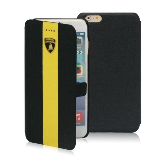 義大利Lamborghini授權iPhone6 plus/6s plus (5.5)側掀式皮套-黑底黃線