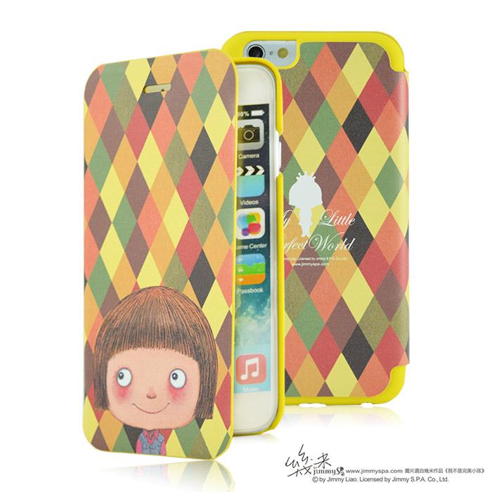 幾米 iPhone 6/6S 4.7吋掀蓋皮套-黃色方格